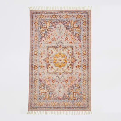 Orange multi print rug