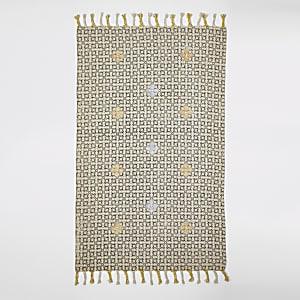 Small black and cream geo print rug