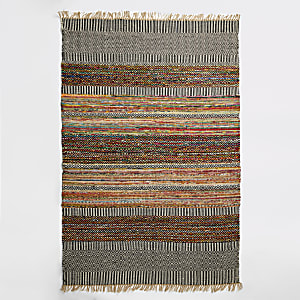 Large multicolored woven geo print rug