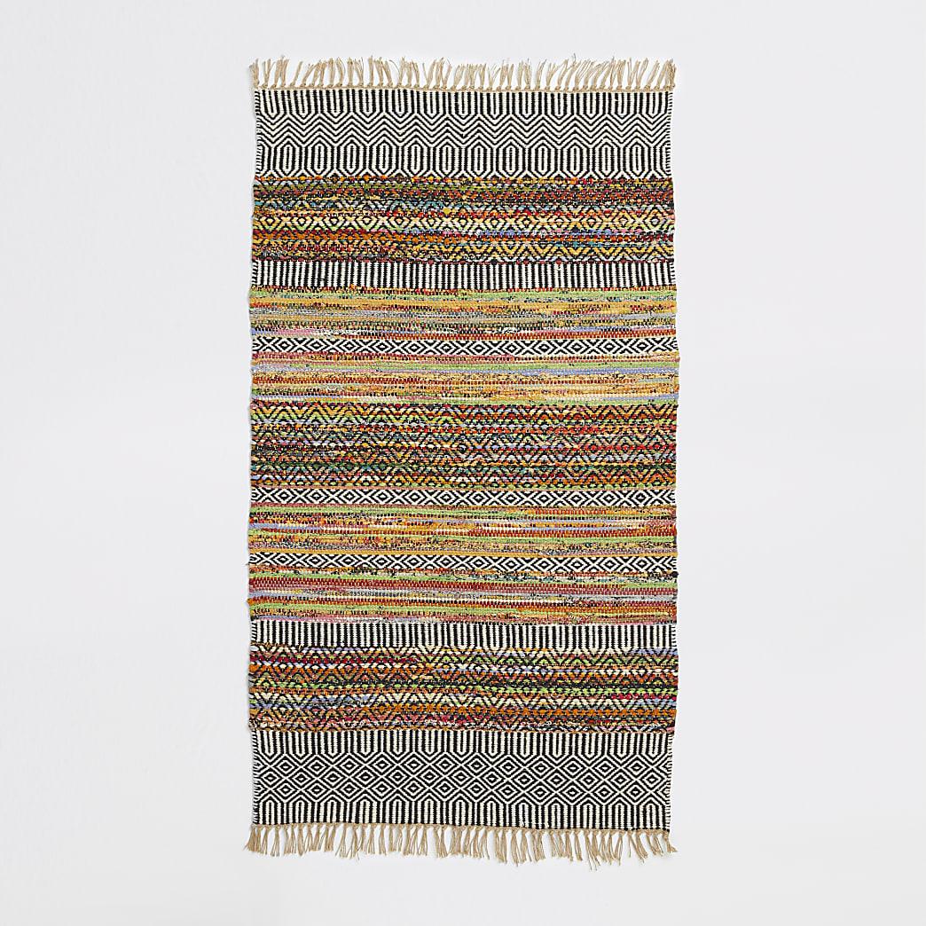 Small multicolored woven geo print rug