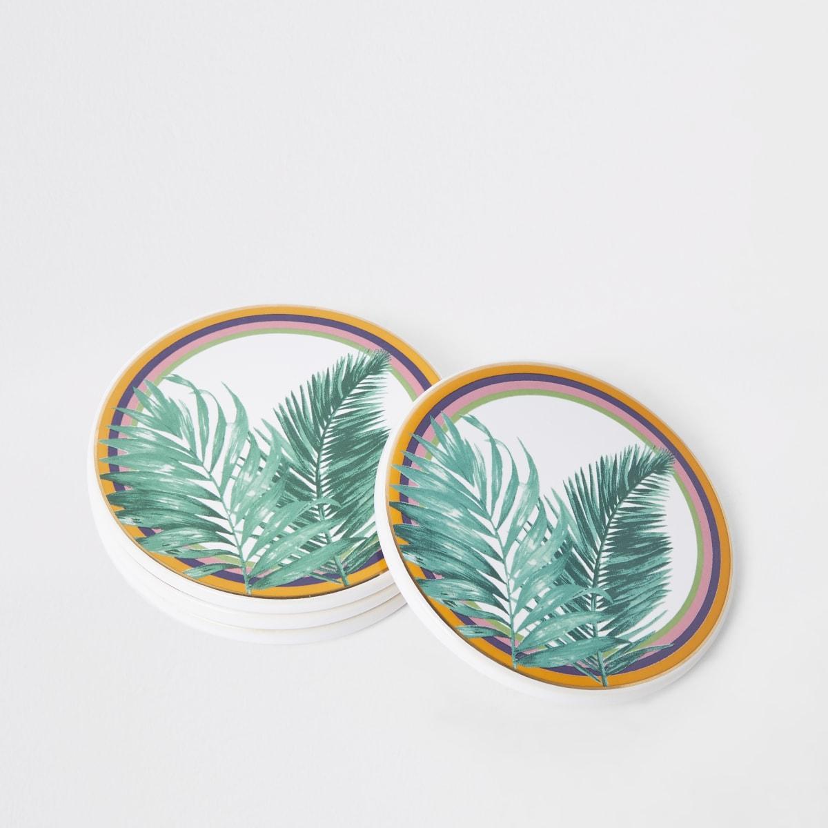 Green leaf print coasters multipack