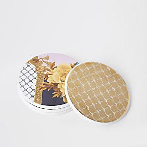 Multipack goudkleurige onderzetters met RI-logo en bloemenprint