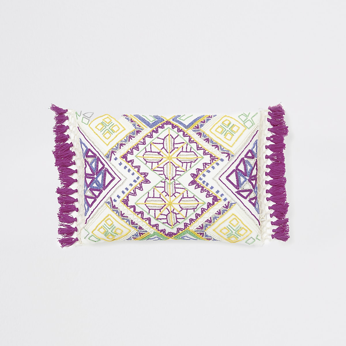 White beaded and embroidered tassel cushion