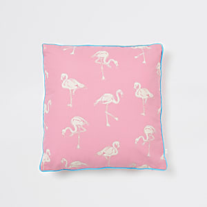 Pink flamingo print cushion