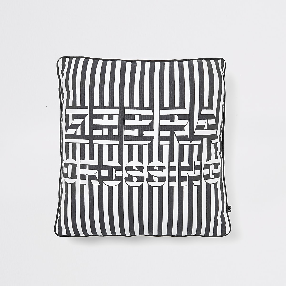 Black 'Zebra Crossing' slogan cushion