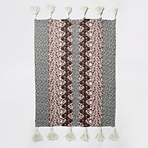 Pinke Strickjacke mit Leoparden- und Blumen-Print