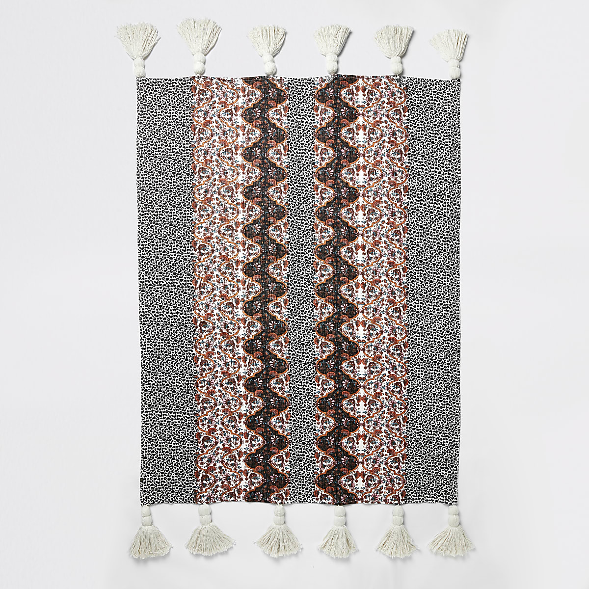 Pink leopard and floral print tassel throw