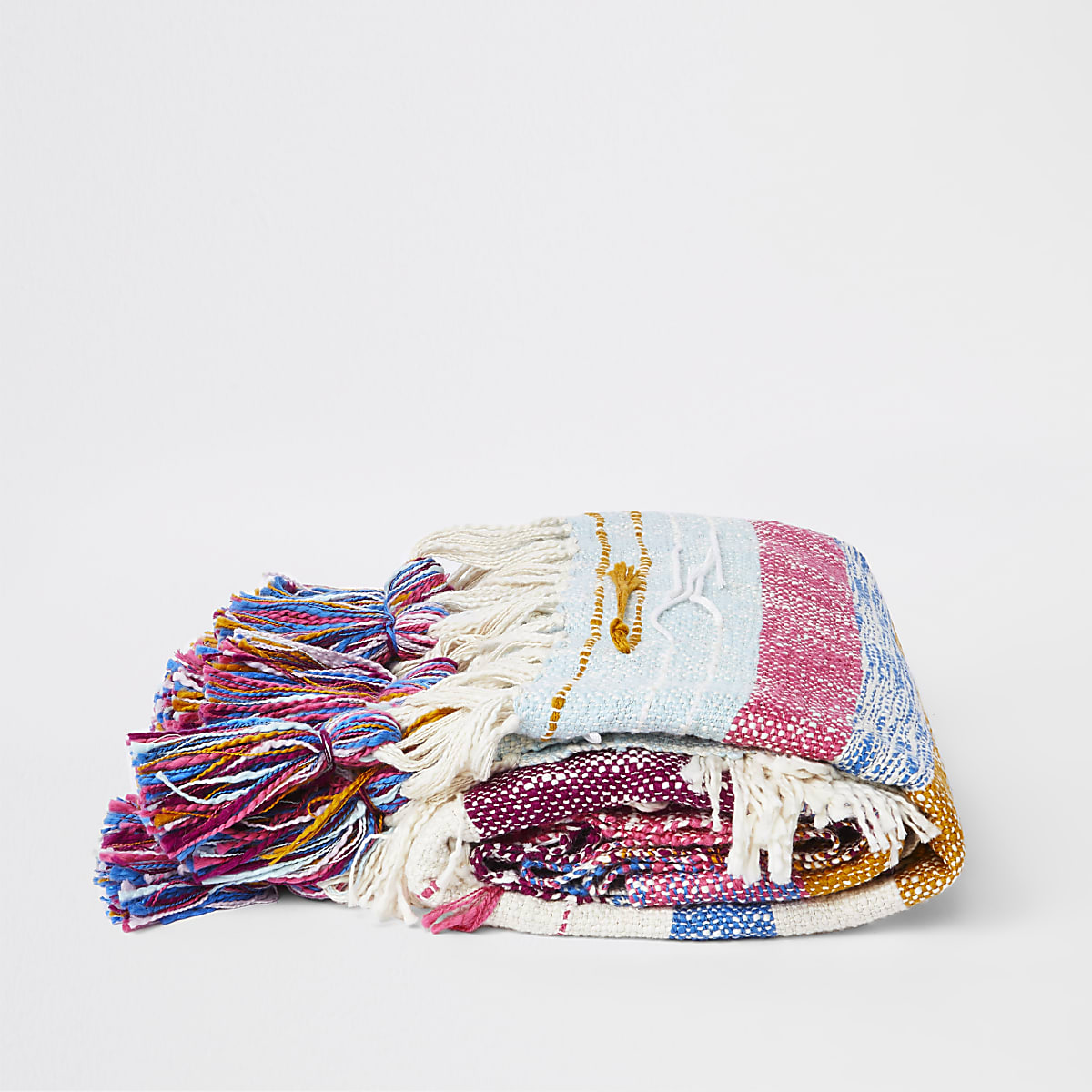 Pink multi color tassel throw