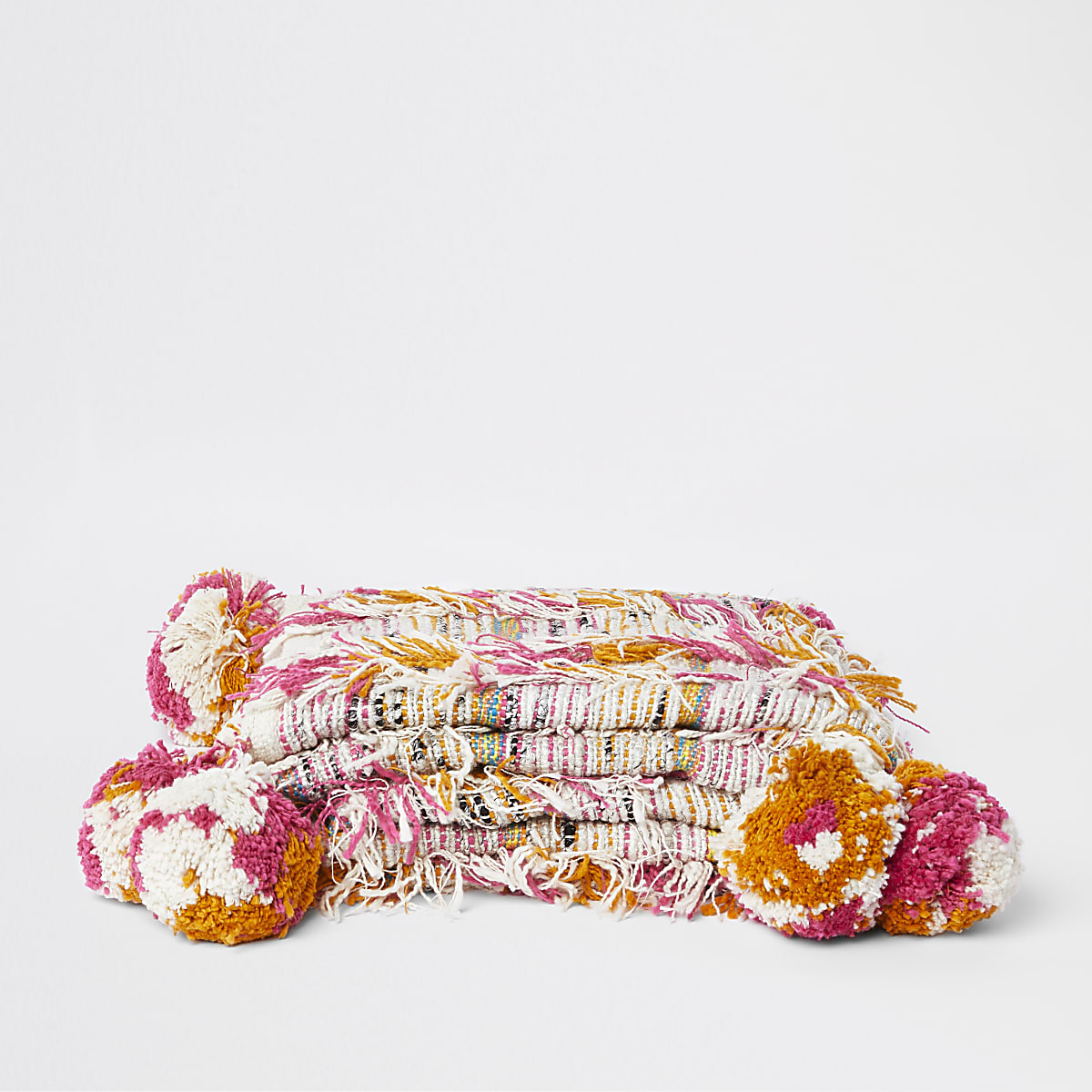 Multi colour textured tassel throw