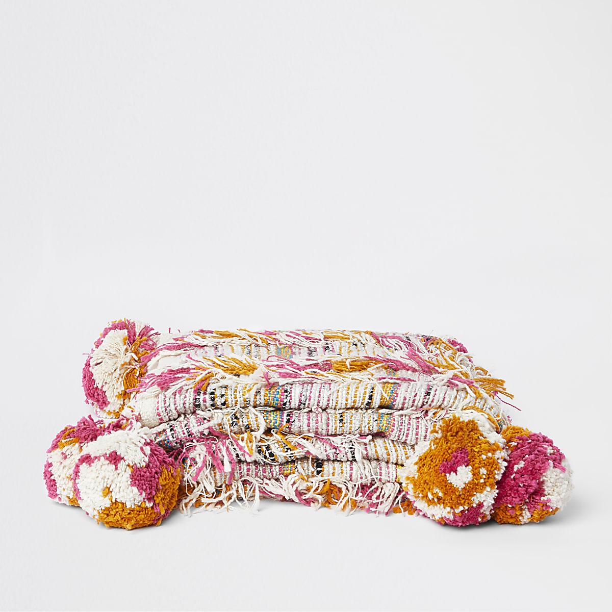 Plaid texturé multicolore à pampilles