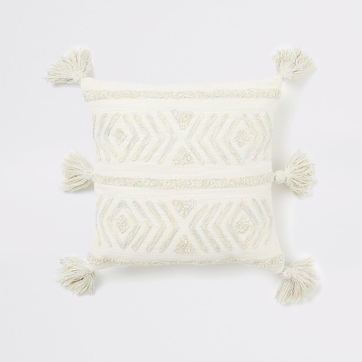 Cream chevron textured mini cushion