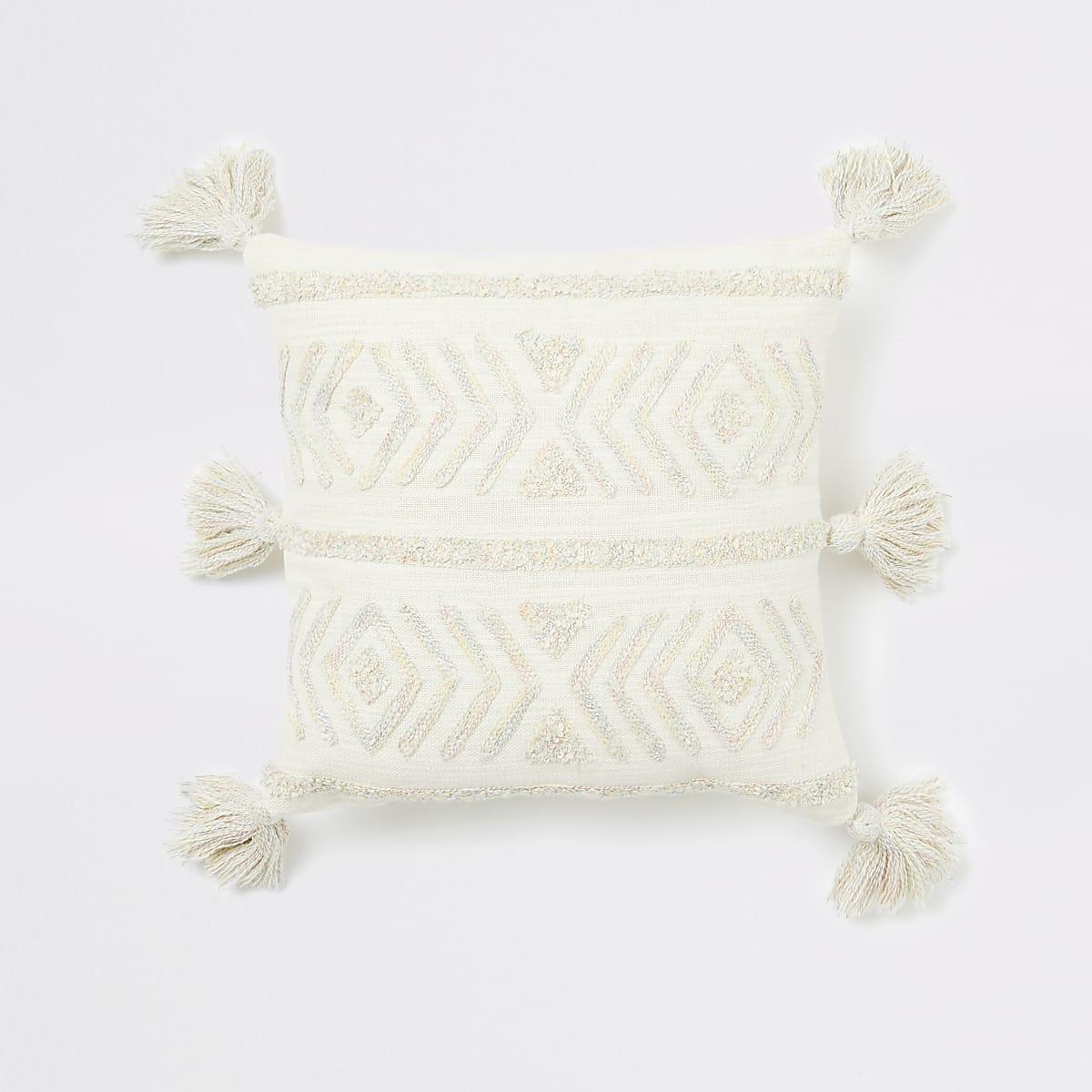 Petit coussin crème texturé à chevrons
