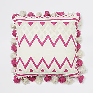 Pinkes, quadratisches Oversize-Kissen mit Print