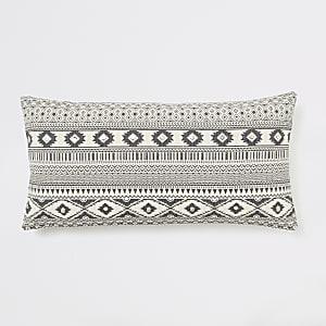 Crème oversized lang kussen met geometrische en aztekenprint