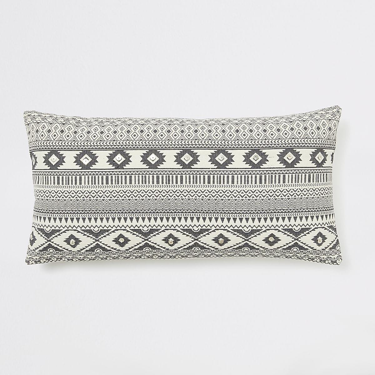 Coussin long oversize à imprimé aztèque géométrique crème