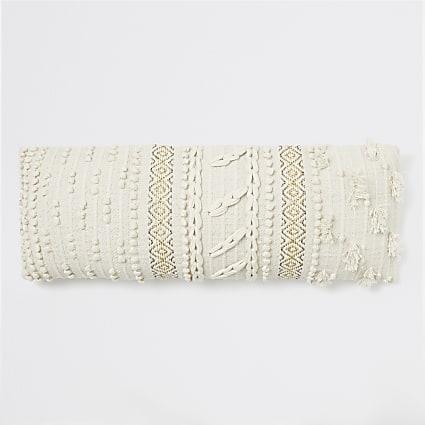 Cream bobble knit oversized long cushion