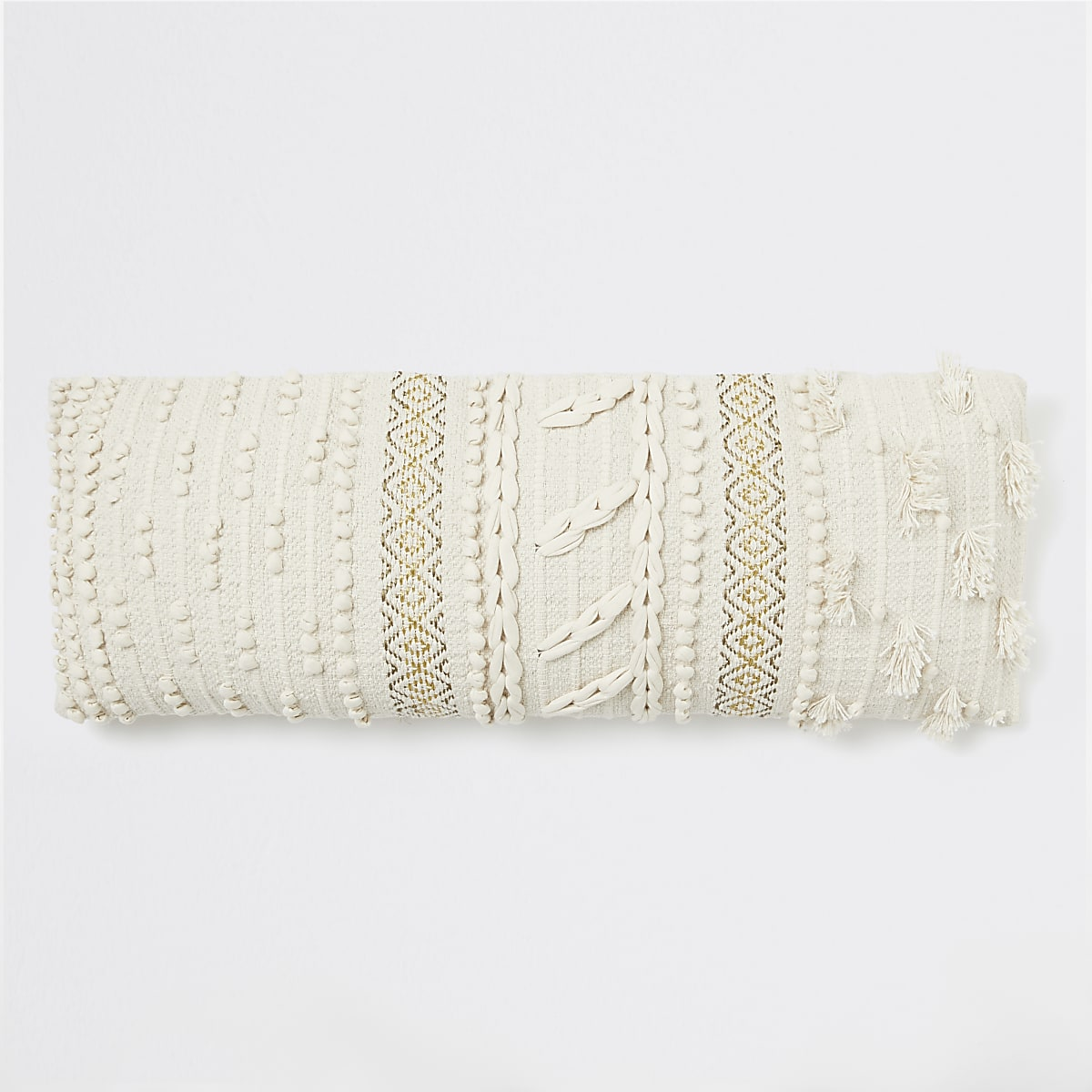 Cream bobble knit oversized long cushion
