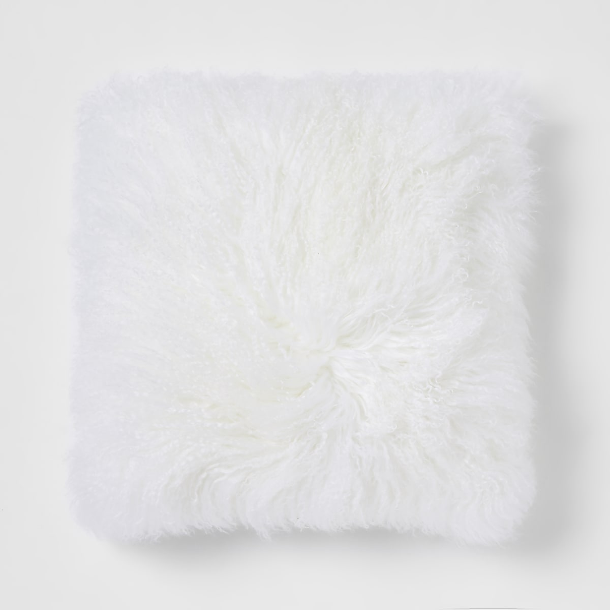 Cream Mongolian oversized square cushion
