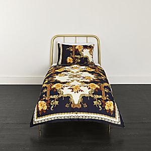 Blaue Bettdeckenbezüge mit Print