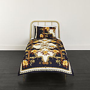Blue ornate print single duvet bed set
