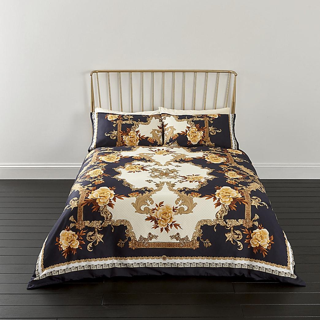 Blue ornate print king duvet bed set