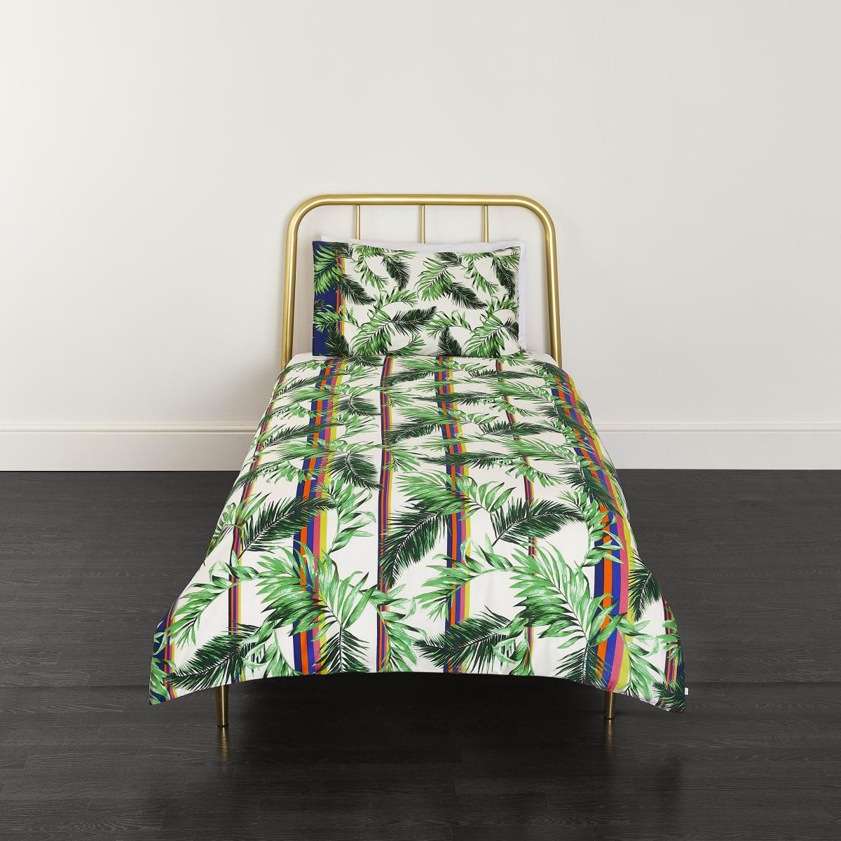 Parure de lit simple à imprimé palmier crème