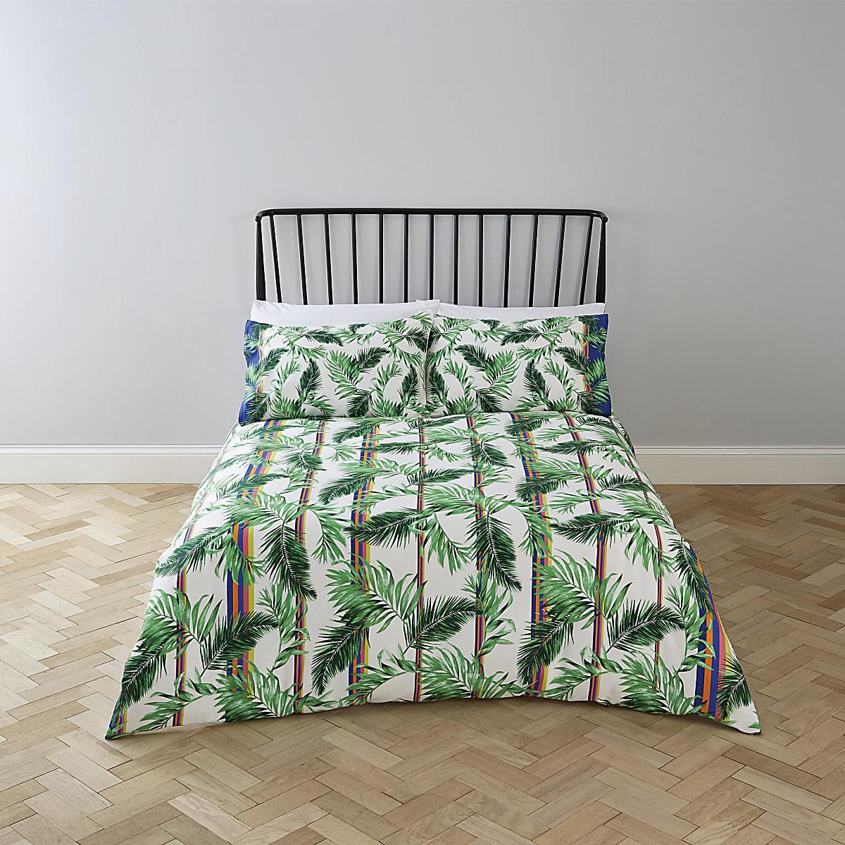 Parure de lit king imprimé palmier crème