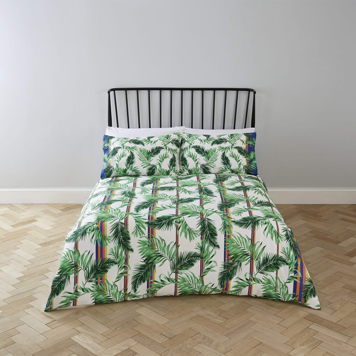 Cream palm print super king duvet bed set