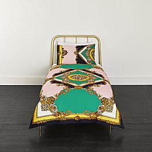 Turquoise eenpersoonsdekbedset met elegante print