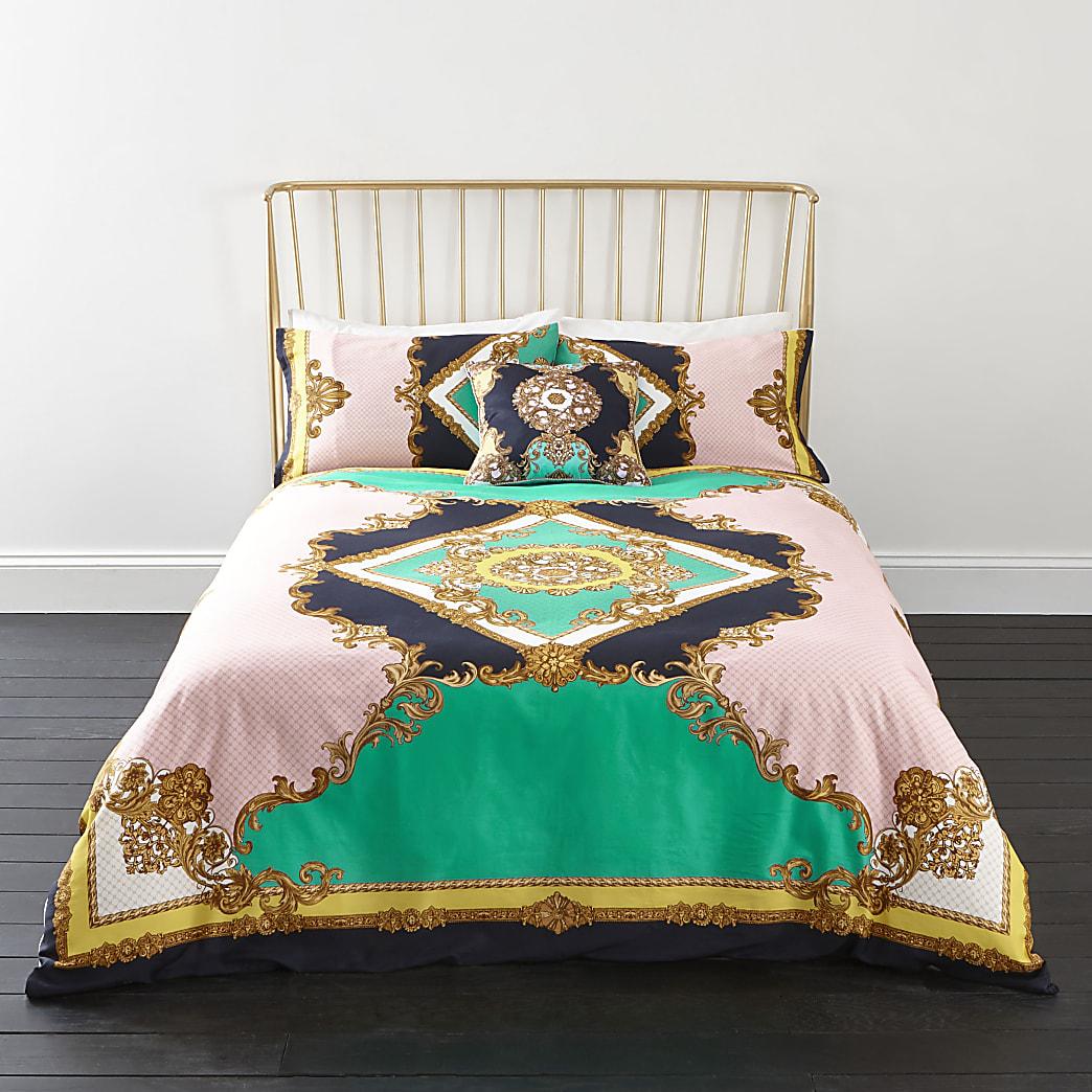 Turquoise kingsize dekbedset met elegante print