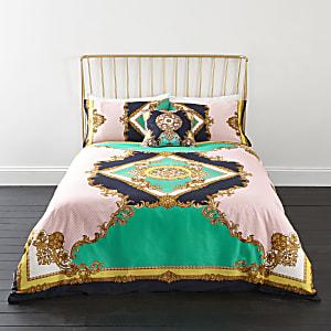 Turquoise superkingsize dekbedset met elegante print