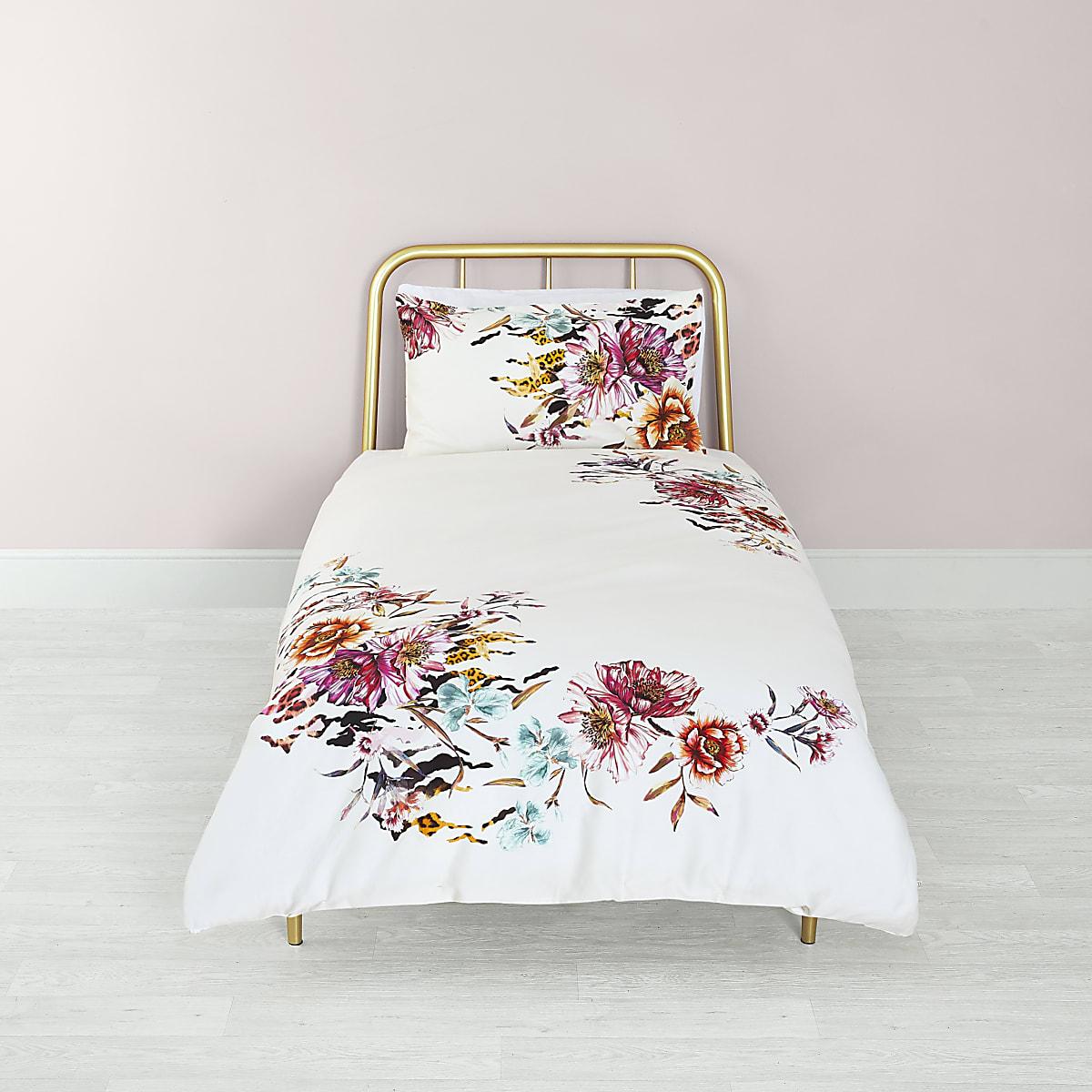 Pink floral print single duvet bed set