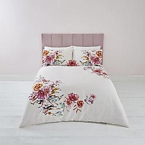 Parure de lit à imprimé fleuri rose pour lit king size