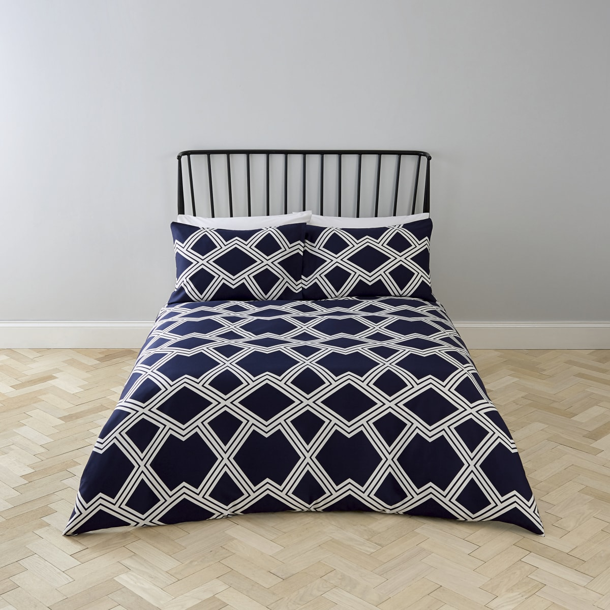 Navy geo print double duvet bed set