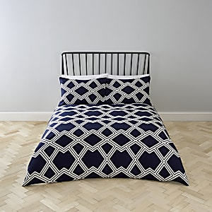 Navy geo print king duvet bed set