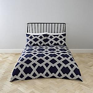 Marineblauwe superkingsize dekbedset met geometrische print