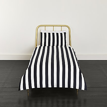 Black stripe print single duvet bed set