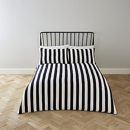 Black stripe print king duvet bed set