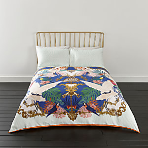 Pink Heron print king duvet bed set