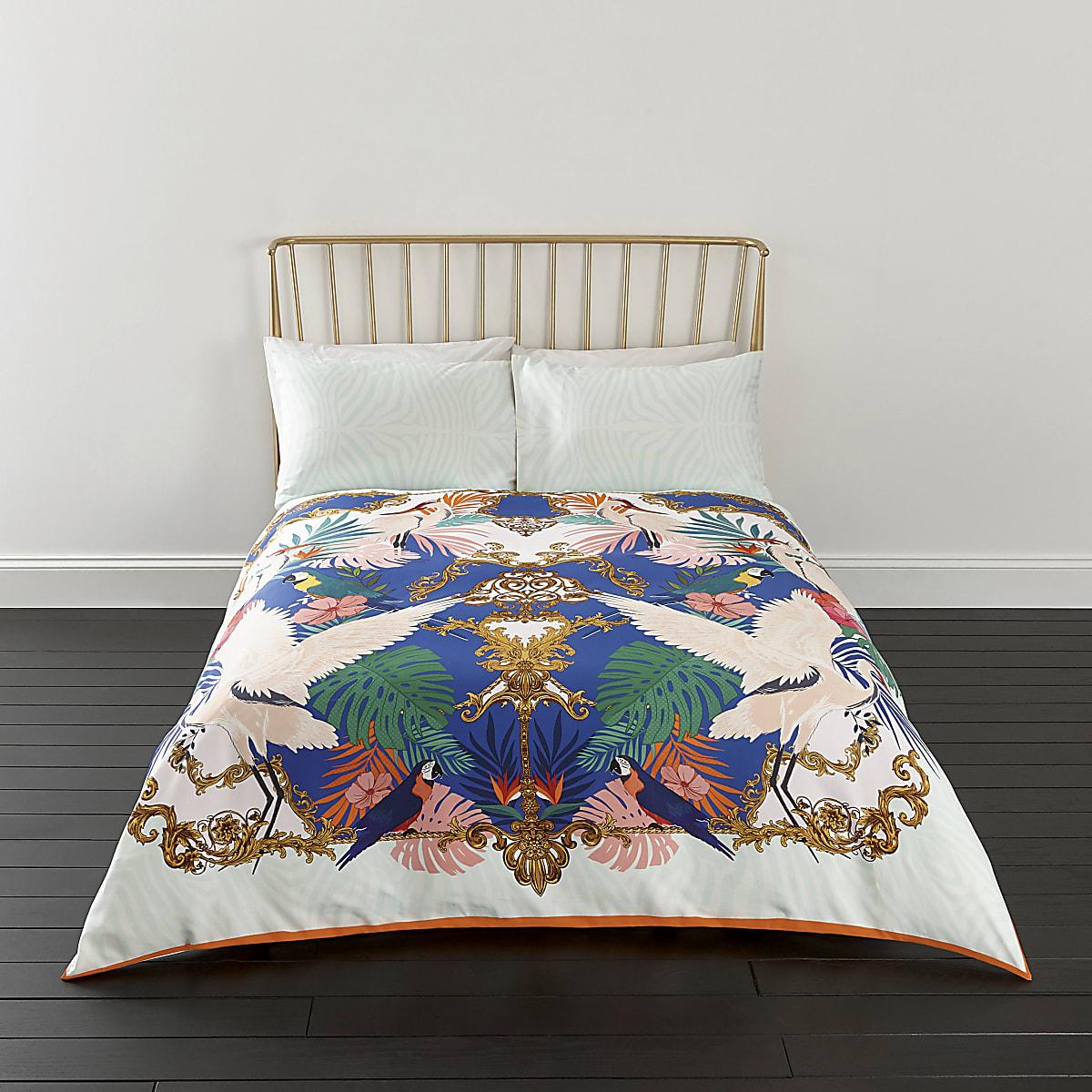Parure de lit à imprimé hérons rose pour lit king size
