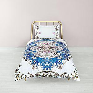 Parure de lit simple à imprimé persan bleue
