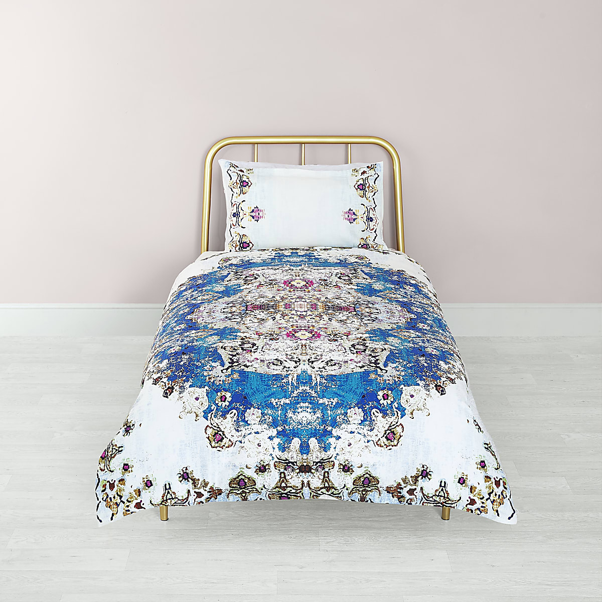 Blue Persian print single duvet bed set