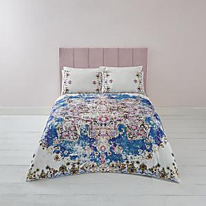 Blaues Bettwäsche-Set mit persischem Print