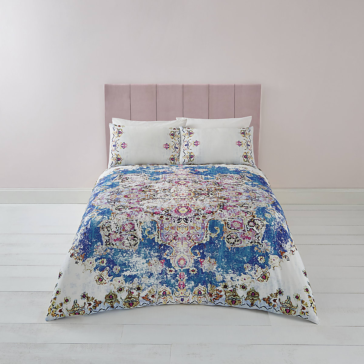 Blue Persian print double duvet bed set