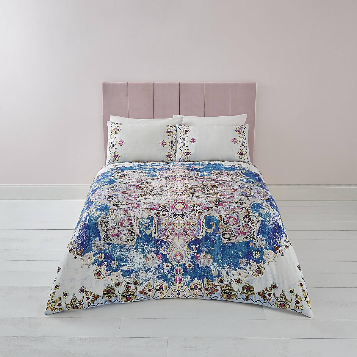 Blue Persian print super king duvet bed set