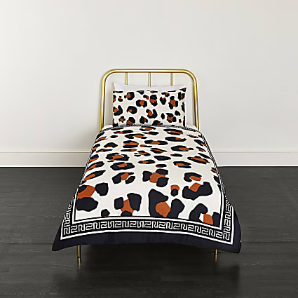White leopard print single duvet bed set