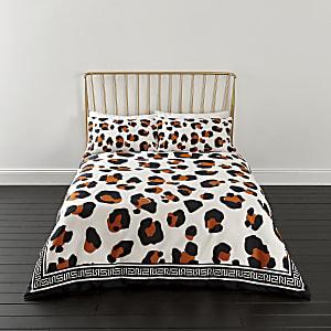 Parure de lit double à imprimé léopard blanche