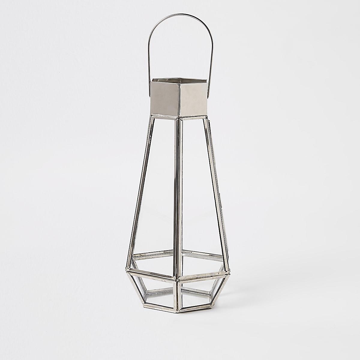 Zilveren lange glazen lantaarn