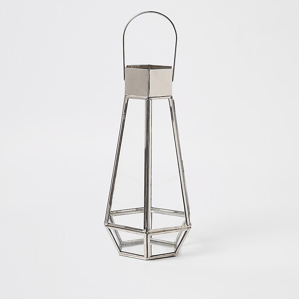 Silver tall glass lantern