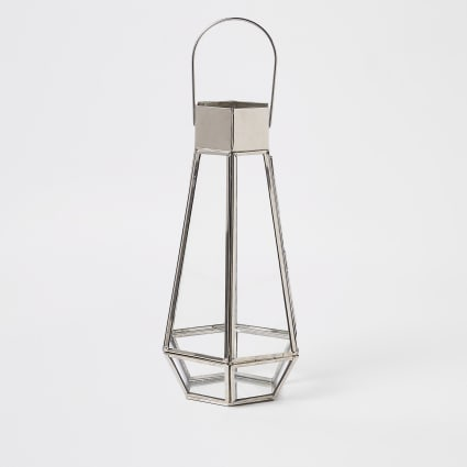 Silver tall glass lantern